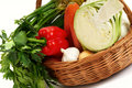 Basket with vegetables Royalty Free Stock Images