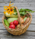 Basket with vegetables and a bouquet of yellow rudbeckia tomatoes cucumbers zucchini potatoes on wooden table Royalty Free Stock Photos