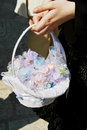 Basket with wedding candies decoration Royalty Free Stock Photo