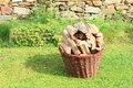 Basket of wood wicker full for heating Stock Images