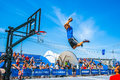 Basketball acrobatics in moscow gorky park russia th july this is the exhibition perfomance of the american Royalty Free Stock Photos