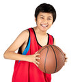 Basketball adorable child playing the isolated over white Royalty Free Stock Photo