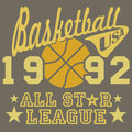 Basketball all star league artwork, typography poster, t-shirt Printing design, vector Badge Applique Label Royalty Free Stock Photo