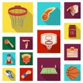 Basketball and attributes flat icons in set collection for design.Basketball player and equipment vector symbol stock Royalty Free Stock Photo