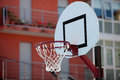Basketball backboard in the middle of the city Stock Image