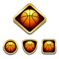 Basketball badge a set of four badges with different shaped gold frames Royalty Free Stock Photo