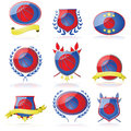 Basketball badges set of shields and showing a Stock Photos