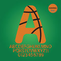 Basketball ball alphabet and digit vector set of Stock Image