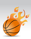 Basketball ball fire with flames Stock Photography