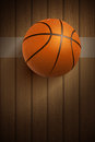 Basketball ball on floor realistic wooden vector illustration Stock Photography
