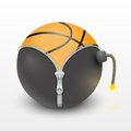Basketball ball inside a burning bomb classic vector illustration and Royalty Free Stock Photo