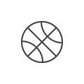 Basketball ball line icon, outline vector sign