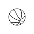 Basketball ball line icon, outline vector sign, linear style pictogram isolated on white.