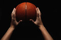 Basketball ball in male hands Royalty Free Stock Photo