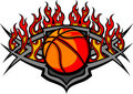 Basketball Ball Template with Flames Image Stock Image