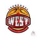 Basketball ball with text west conference on red baner. Vector sport logo isolated on white Royalty Free Stock Photo