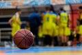 Basketball ball on the wooden floor