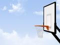 Basketball basket on cloudy weather background Royalty Free Stock Photography
