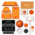 Basketball basket, hoop, ball, scoreboard with numbers, fields on white background