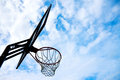 Basketball basket over blue sky silhouette picture of Royalty Free Stock Image