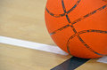 Basketball on boundary line close up of a court Stock Image