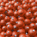 Basketball christmas balls heap cluster pool of orange baubles d rendering Stock Image