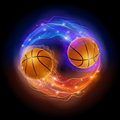 Basketball comet ball in flames and lights against black background vector illustration Stock Image