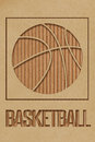 Basketball concept art made from cutout cardboard Royalty Free Stock Images