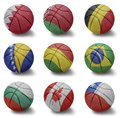 Basketball countries from b to c balls with the national flag of bahrain belarus belgium bosnia bolivia brazil bulgaria canada Royalty Free Stock Photos