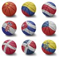 Basketball countries from c to e balls with the national flag of china colombia costa rica croatia cuba czech republic denmark Royalty Free Stock Photo