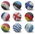 Basketball countries from e to g balls with the national flag of egypt estonia finland france georgia germany ghana greece Royalty Free Stock Photography