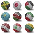 Basketball countries from j to l balls with the national flag of jamaica japan jordan kazakhstan kenya kuwait latvia lebanon Stock Photo