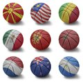 Basketball countries from m to n balls with the national flag of macedonia malaysia mali mexico montenegro morocco netherlands new Stock Photography