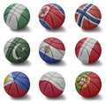 Basketball countries from n to p balls with the national flag of nigeria north korea norway pakistan paraguay peru philippines Stock Photos
