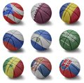 Basketball countries from p to s balls with the national flag of puerto rico quatar romania russia el salvador saudi arabia Stock Image
