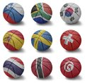 Basketball countries from s to t balls with the national flag of slovenia south africa south korea spain sweden switzerland Stock Images