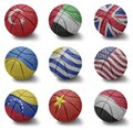 Basketball countries from t to y balls with the national flag of turkey united arab emirates united kingdom ukraine uruguay united Stock Photography