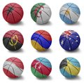 Basketball countries from a to b balls with the national flag of albania algeria argentina angola armenia australia austria Royalty Free Stock Images