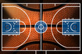 Basketball Court with detail of Basketball Royalty Free Stock Photo