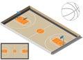 Basketball court isometry. Basketball ball silhouette