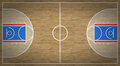 Basketball court an overhead view of a complete with markings Stock Image