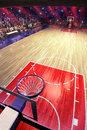 Basketball court with people fan. Sport arena.Photoreal 3d render background. blured in long shot distancelike leans optical Royalty Free Stock Photo