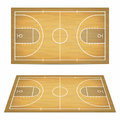 Basketball court with wooden floor. View from above and perspective, isometric view.