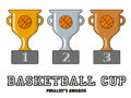 Basketball Cup Finalists Awards in Gold, Silver and Bronze Royalty Free Stock Photo