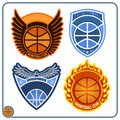 Basketball emblems four for teams Stock Image