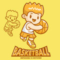 Basketball exercise in boys Mascot. Sports Character Design Seri Stock Photos