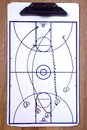 Basketball fast break diagram a of a on a coach s clipboard Royalty Free Stock Photo