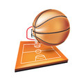 Basketball with field and panel isolated Stock Photo