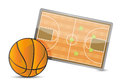 Basketball field tactic table, Basketball balls Royalty Free Stock Photos