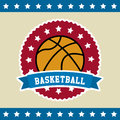 Basketball flag label over background vector illustration Royalty Free Stock Photo